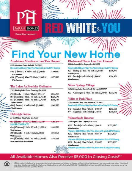 Find Your New Home- All can close by July 30th.
