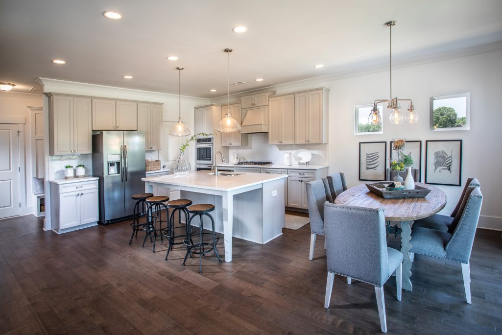 Open concept kitchen and kitchen table view