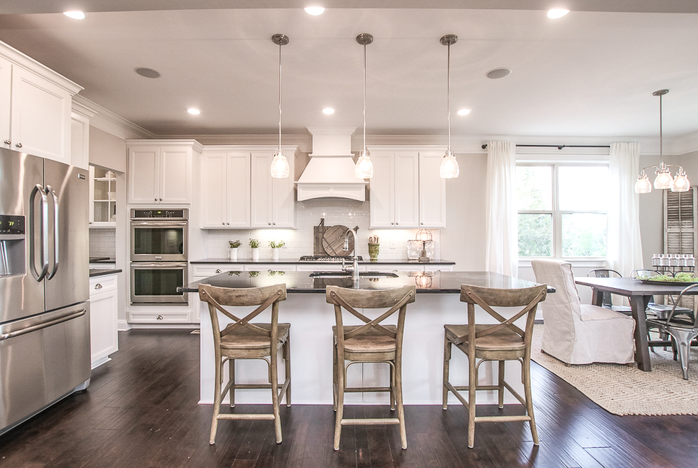A kitchen you'll find in these new homes outside of Nashville with open floor plans