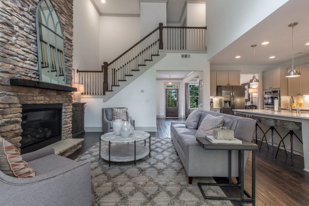 Connected Family Room in a New Construction Home in Dallas, GA